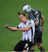 10 July 2019; John Mountney of Dundalk in action against Ritvars Rugins of Riga during the UEFA Champions League First Qualifying Round 1st Leg match between Dundalk and Riga at Oriel Park in Dundalk, Co Louth. Photo by Eóin Noonan/Sportsfile