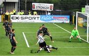 10 July 2019; Seán Gannon of Dundalk has a shot on goal blocked by Ivans Lukjanovs of Riga during the UEFA Champions League First Qualifying Round 1st Leg match between Dundalk and Riga at Oriel Park in Dundalk, Co Louth. Photo by Eóin Noonan/Sportsfile