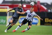 10 July 2019; John Mountney of Dundalk in action against Roman Debelko of Riga during the UEFA Champions League First Qualifying Round 1st Leg match between Dundalk and Riga at Oriel Park in Dundalk, Co Louth. Photo by Eóin Noonan/Sportsfile