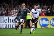 10 July 2019; Patrick McEleney of Dundalk in action against Tomislav Saric of Riga  during the UEFA Champions League First Qualifying Round 1st Leg match between Dundalk and Riga at Oriel Park in Dundalk, Co Louth. Photo by Eóin Noonan/Sportsfile