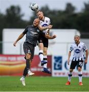 10 July 2019; Seán Hoare of Dundalk in action against Roman Debelko of Riga during the UEFA Champions League First Qualifying Round 1st Leg match between Dundalk and Riga at Oriel Park in Dundalk, Co Louth. Photo by Eóin Noonan/Sportsfile