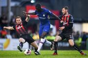 10 July 2019; Tiemoue Bakayoko of Chelsea is tackled by Alex Kelly, left, and Conor Levingston of Bohemians during a friendly match between Bohemians and Chelsea at Dalymount Park in Dublin. Photo by Ramsey Cardy/Sportsfile