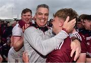 10 July 2019; Galway manager Padraic Joyce celerbates with Conor Campbell of Galway during the EirGrid Connacht GAA Football U20 Championship final match between Galway and Mayo at Tuam, Co. Galway. Photo by Sam Barnes/Sportsfile