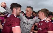 10 July 2019; Galway manager Padraic Joyce celerbates with Conor Campbell, right, and Seán Mulkerrin of Galway during the EirGrid Connacht GAA Football U20 Championship final match between Galway and Mayo at Tuam, Co. Galway. Photo by Sam Barnes/Sportsfile