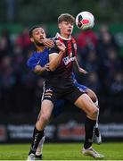 10 July 2019; Evan Ferguson of Bohemians in action against Lewis Baker of Chelsea during a friendly match between Bohemians and Chelsea at Dalymount Park in Dublin. Photo by Ramsey Cardy/Sportsfile
