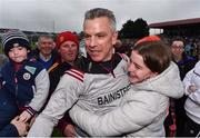 10 July 2019; Galway manager Padraic Joyce is congratulated by his daughter Ava, aged 16,  during the EirGrid Connacht GAA Football U20 Championship final match between Galway and Mayo at Tuam, Co. Galway. Photo by Sam Barnes/Sportsfile