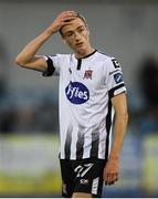 10 July 2019; Daniel Kelly of Dundalk following the UEFA Champions League First Qualifying Round 1st Leg match between Dundalk and Riga at Oriel Park in Dundalk, Co Louth. Photo by Eóin Noonan/Sportsfile