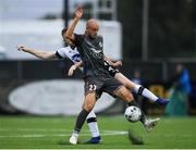 10 July 2019; Roman Debelko of Riga in action against Seán Hoare of Dundalk during the UEFA Champions League First Qualifying Round 1st Leg match between Dundalk and Riga at Oriel Park in Dundalk, Co Louth. Photo by Eóin Noonan/Sportsfile