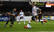 10 July 2019; Dean Jarvis of Dundalk in action against Herdi Prenga of Riga during the UEFA Champions League First Qualifying Round 1st Leg match between Dundalk and Riga at Oriel Park in Dundalk, Co Louth. Photo by Eóin Noonan/Sportsfile