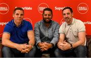 12 July 2019; SuperValu, Ireland's largest grocery retailer with over 220 stores nationwide, teamed up with Ireland's leading sports broadcasters, Off The Ball, to bring their award-winning show on the road this summer, to celebrate SuperValu's 10th year as sponsor of the GAA Football All-Ireland Senior Championship. Joined by a host of special guests, the SuperValu Off The Ball roadshow took place in CLG Ghaoth Dobhair, last Wednesday 10th July. Pictured are Off The Ball presenter Nathan Murphy, centre, with former Donegal footballers Kevin Cassidy, left, and Kevin Devaney. Photo by Oliver McVeigh/Sportsfile