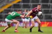 6 July 2019; Eamonn Brannigan of Galway is tackled by Fionn McDonagh of Mayo during the GAA Football All-Ireland Senior Championship Round 4 match between Galway and Mayo at the LIT Gaelic Grounds in Limerick. Photo by Brendan Moran/Sportsfile