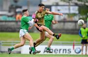 11 July 2019; Joseph O Connor of Kerry in action against Adam Shanagher and Jamie Fitzgearld of Limerick during the EirGrid GAA Football Under 20 Munster Championship Semi-Final match between Kerry and Limerick at Austin Stack Park in Tralee, Kerry. Photo by Brendan Moran/Sportsfile