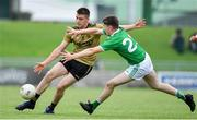 11 July 2019; Seán Horan of Kerry in action against Jason Daly of Limerick during the EirGrid GAA Football Under 20 Munster Championship Semi-Final match between Kerry and Limerick at Austin Stack Park in Tralee, Kerry. Photo by Brendan Moran/Sportsfile