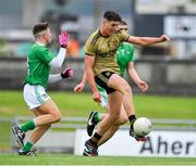 11 July 2019; Joseph O'Connor of Kerry in action against Adam Shanagher and Jamie Fitzgearld of Limerick during the EirGrid GAA Football Under 20 Munster Championship Semi-Final match between Kerry and Limerick at Austin Stack Park in Tralee, Kerry. Photo by Brendan Moran/Sportsfile