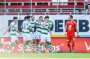11 July 2019; Roberto Lopes of Shamrock Rovers celebrates his goal with team mates during the UEFA Europa League First Qualifying Round 1st Leg match between SK Brann and Shamrock Rovers at Brann Stadion, Bergen, Norway. Photo by Bjorn Erik Nesse/Sportsfile.