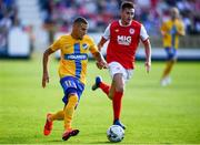 11 July 2019; Jordan Larsson of IFK Norrköping in action against Kevin Toner of St Patricks Athletic during the UEFA Europa League First Qualifying Round 1st Leg match between St Patrick's Athletic and IFK Norrköping at Richmond Park in Inchicore, Dublin. Photo by Sam Barnes/Sportsfile