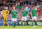 11 July 2019; Cork City players, from left, Mark McNulty, Conor McCormack, Dan Casey and Sean McLoughlin after their side concede their second goal during the UEFA Europa League First Qualifying Round 1st Leg match between Cork City and Progres Niederkorn at Turners Cross in Cork. Photo by Eóin Noonan/Sportsfile