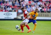 11 July 2019; Michael Drennan of St Patricks Athletic in action against Kasper Larsen of IFK Norrköping during the UEFA Europa League First Qualifying Round 1st Leg match between St Patrick's Athletic and IFK Norrköping at Richmond Park in Inchicore, Dublin. Photo by Sam Barnes/Sportsfile