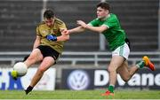 11 July 2019; Cathal Ferriter of Kerry in action against Niall McAuliffe of Limerick during the EirGrid GAA Football Under 20 Munster Championship Semi-Final match between Kerry and Limerick at Austin Stack Park in Tralee, Kerry. Photo by Brendan Moran/Sportsfile