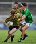11 July 2019; Brian Friel of Kerry in action against Brian Fole of Limerick during the EirGrid GAA Football Under 20 Munster Championship Semi-Final match between Kerry and Limerick at Austin Stack Park in Tralee, Kerry. Photo by Brendan Moran/Sportsfile