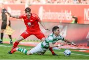 11 July 2019; Christian Eggen Rismark of SK Brann in action against Graham Cummins of Shamrock Rovers during the  UEFA Europa League First Qualifying Round 1st Leg match between SK Brann and Shamrock Rovers at Brann Stadion, Bergen, Norway. Photo by Bjorn Erik Nesse/Sportsfile.
