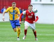 11 July 2019; Gary Shaw of St Patrick's Athletic in action against Kasper Larsen of IFK Norrköping during the UEFA Europa League First Qualifying Round 1st Leg match between St Patrick's Athletic and IFK Norrköping at Ricmond Park in Inchicore, Dublin. Photo by Matt Browne/Sportsfile