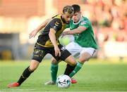 11 July 2019; Belmin Muratovic of Progrès Niederkorn in action against Ronan Hurley of Cork City during the UEFA Europa League First Qualifying Round 1st Leg match between Cork City and Progres Niederkorn at Turners Cross in Cork. Photo by Eóin Noonan/Sportsfile