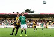 11 July 2019; Karl Sheppard of Cork City in action against Sébastien Thill of Progrès Niederkorn during the UEFA Europa League First Qualifying Round 1st Leg match between Cork City and Progres Niederkorn at Turners Cross in Cork. Photo by Eóin Noonan/Sportsfile