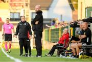11 July 2019; Cork City Interim-Head Coach John Cotter, left, and Cork City Interim-Manager Frank Kelleher, right, during the UEFA Europa League First Qualifying Round 1st Leg match between Cork City and Progres Niederkorn at Turners Cross in Cork. Photo by Eóin Noonan/Sportsfile