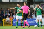 11 July 2019; Mark O'Sullivan of Cork City protests to referee Aleksandrs Anufrijevs during the UEFA Europa League First Qualifying Round 1st Leg match between Cork City and Progres Niederkorn at Turners Cross in Cork. Photo by Eóin Noonan/Sportsfile