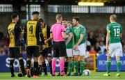 11 July 2019; Mark O'Sullivan, left , and Gearóid Morrissey of Cork City protest to referee Aleksandrs Anufrijevs during the UEFA Europa League First Qualifying Round 1st Leg match between Cork City and Progres Niederkorn at Turners Cross in Cork. Photo by Eóin Noonan/Sportsfile