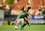 11 July 2019; Gearóid Morrissey of Cork City is tackled by Christian Silaj of Progrès Niederkorn during the UEFA Europa League First Qualifying Round 1st Leg match between Cork City and Progres Niederkorn at Turners Cross in Cork. Photo by Eóin Noonan/Sportsfile