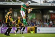 11 July 2019; Mark O'Sullivan of Cork City in action against Tim Hall of Progrès Niederkorn during the UEFA Europa League First Qualifying Round 1st Leg match between Cork City and Progres Niederkorn at Turners Cross in Cork. Photo by Eóin Noonan/Sportsfile