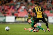 11 July 2019; Ronan Hurley of Cork City is fouled by Kenan Agovic of Progrès Niederkorn during the UEFA Europa League First Qualifying Round 1st Leg match between Cork City and Progres Niederkorn at Turners Cross in Cork. Photo by Eóin Noonan/Sportsfile