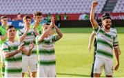 11 July 2019; Shamrock Rovers players celebrating following the UEFA Europa League First Qualifying Round 1st Leg match between SK Brann and Shamrock Rovers at Brann Stadion, Bergen, Norway. Photo by Bjorn Erik Nesse/Sportsfile.
