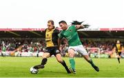 11 July 2019; Adrien Ferino of Progrès Niederkorn in action against Mark O'Sullivan of Cork City during the UEFA Europa League First Qualifying Round 1st Leg match between Cork City and Progres Niederkorn at Turners Cross in Cork. Photo by Eóin Noonan/Sportsfile