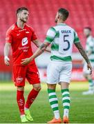 11 July 2019; Gilli Rolantsson of SK Brann  and Lee Grace of Shamrock Rovers following the UEFA Europa League First Qualifying Round 1st Leg match between SK Brann and Shamrock Rovers at Brann Stadion, Bergen, Norway. Photo by Bjorn Erik Nesse/Sportsfile.