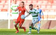 11 July 2019; Petter Strand of SK Brann in action against Jack Byrne of Shamrock Rovers during the UEFA Europa League First Qualifying Round 1st Leg match between SK Brann and Shamrock Rovers at Brann Stadion, Bergen, Norway. Photo by Bjorn Erik Nesse/Sportsfile.