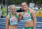 11 July 2019; Mollly Scott, left, and Ciara Neville of Ireland after competing in the Women's 100m Hurdles on day one of the European U23 Athletics Championships at the Gunder Hägg Stadium in Gävle, Sweden. Photo by Giancarlo Colombo/Sportsfile