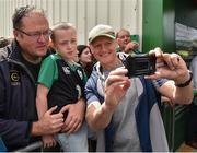 12 July 2019; Head coach Joe Schmidt takes a selfie with supporters after an Ireland Rugby open training session at the Sportsground in Galway. Photo by Matt Browne/Sportsfile