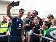 12 July 2019; Jonathan Sexton takes a selfie with supporters after an Ireland Rugby open training session at the Sportsground in Galway. Photo by Matt Browne/Sportsfile