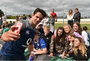 12 July 2019; Joey Carbery takes a selfie with supporters after after an Ireland Rugby open training session at the Sportsground in Galway. Photo by Matt Browne/Sportsfile
