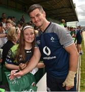 12 July 2019; Jonathan Sexton with Charlotte O'Grady, from Oranmore, Co Galway, after an Ireland Rugby open training session at the Sportsground in Galway. Photo by Matt Browne/Sportsfile