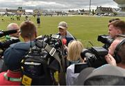 12 July 2019; Head coach Joe Schmidt talks to members of the media after an Ireland Rugby open training session at the Sportsground in Galway. Photo by Matt Browne/Sportsfile