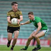11 July 2019; Killian Falvey of Kerry in action against Karl Moloney of Limerick during the EirGrid GAA Football Under 20 Munster Championship Semi-Final match between Kerry and Limerick at Austin Stack Park in Tralee, Kerry. Photo by Brendan Moran/Sportsfile