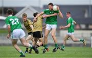 11 July 2019; James Cummin of Limerick in action against Killian Falvey of Kerry during the EirGrid GAA Football Under 20 Munster Championship Semi-Final match between Kerry and Limerick at Austin Stack Park in Tralee, Kerry. Photo by Brendan Moran/Sportsfile