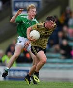 11 July 2019; Cathal Ferriter of Kerry in action against Dubhán O'Grady of Limerick during the EirGrid GAA Football Under 20 Munster Championship Semi-Final match between Kerry and Limerick at Austin Stack Park in Tralee, Kerry. Photo by Brendan Moran/Sportsfile