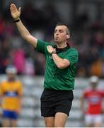 10 July 2019; Referee Kevin Jordan during the Bord Gais Energy Munster GAA Hurling Under 20 Championship semi-final match between Cork and Clare at Páirc Ui Rinn in Cork. Photo by Brendan Moran/Sportsfile