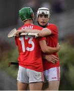 10 July 2019; Shane O'Regan, right, and Brian Turnbull of Cork celebrate after the Bord Gais Energy Munster GAA Hurling Under 20 Championship semi-final match between Cork and Clare at Páirc Ui Rinn in Cork. Photo by Brendan Moran/Sportsfile