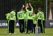 12 June 2019; Lorcan Tucker of Ireland, centre, is congratulated by team-mates after taking a catch for a wicket during the 2nd T20 Cricket International match between Ireland and Zimbabwe at Bready Cricket Club in Magheramason, Co. Tyrone. Photo by Oliver McVeigh/Sportsfile